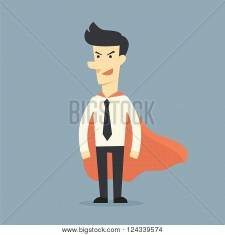 Super businessman  the cartoon concept on bule background
