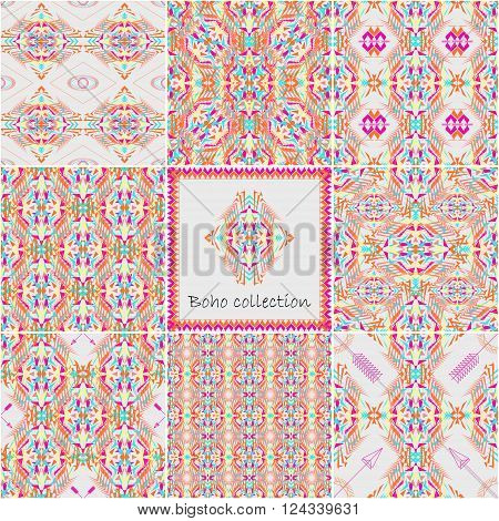 Set of vector seamless textures with tribal geometric pattern and frame. Electro boho color trend. Aztec ornamental style. Ethnic native American Indian ornaments