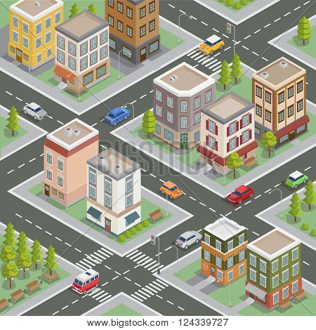 Isometric Cityscape with Buildings, Roads and Cars. Vector illustration