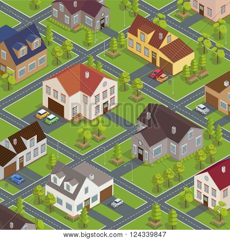 Isometric Cityscape with Modern Houses, Roads and Cars. Vector illustration