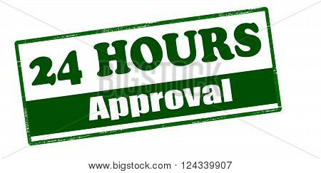 Rubber stamp with text twenty four hours approval inside vector illustration`