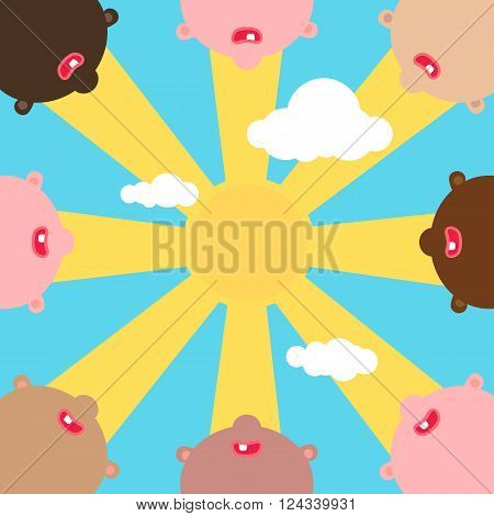 Childrens of different nations together vector illustration. Peaceful Children look up to sky and sunshine. The first tooth and smile. Kids party background.