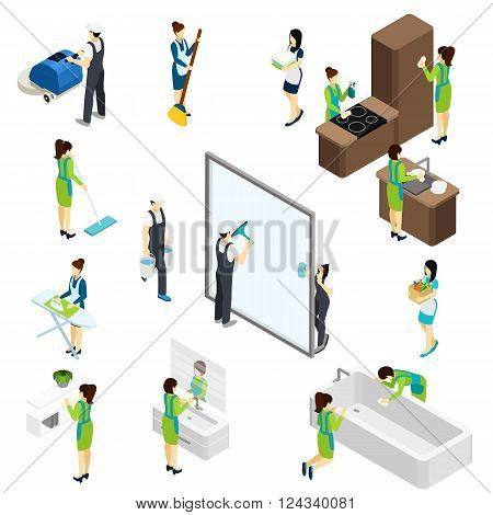 Professional cleaning team at work isometric icons composition banner with bathtub disinfection and furniture polishing abstract vector illustration