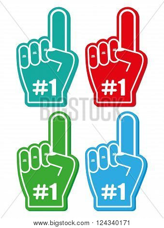 Finger up 1 fan icon vector illustration isolated