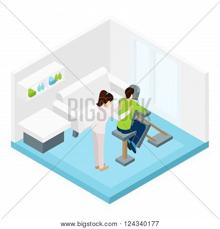 Shoulders massage with special equipment in the room isometric vector illustration