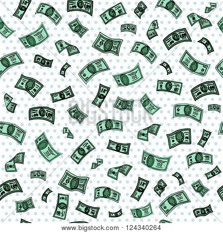 Money Background. Dollar Background. Banknotes Background. Cash Pattern. Seamless Pattern. American Dollars. Vector illustration