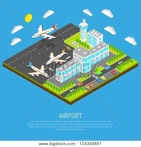 Poster of square platform airport including terminal control tower airfield and airplanes on blue background isometric vector illustration
