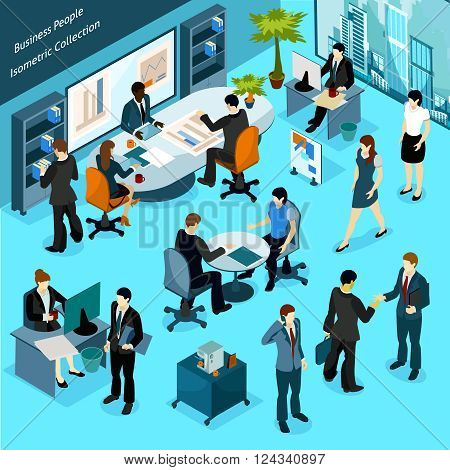 Business people isometric indoor icons collection of office staff busying in workflow meeting discussions and presentation vector illustration
