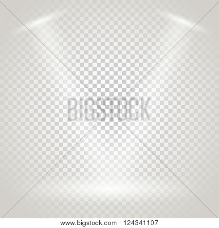 Bright stage with spotlights. Transparent background