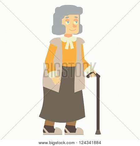 happy elderly, old woman, grandma, grandmother, with cane stick no background