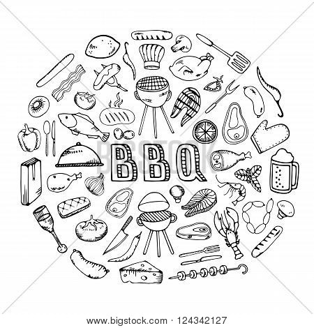 Barbecue grill party.Cook idea. Food design template. BBQ party. Restaurant Food Menu Design with Chalkboard Background
