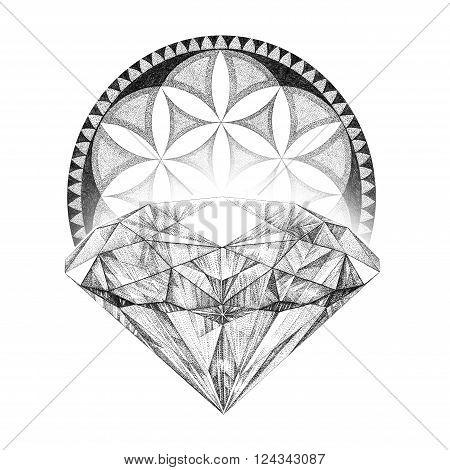 Hand painted brilliant, black and white graphics diamond, mandala