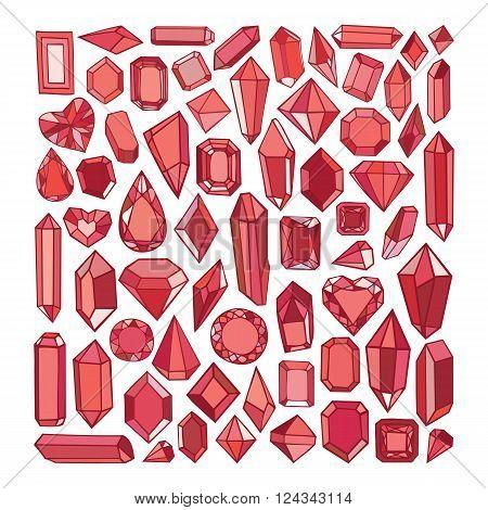 Vector Hand Drawn Modern Set Of Crystals