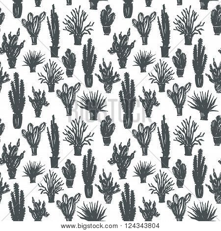 Seamless pattern with hand drawn cactus in a pot. Ink illustration. Isolated on white background. Hand drawn nature ornament for wrapping paper.