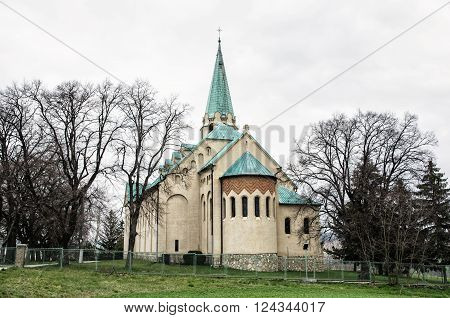 Roman catholic church of saint Stephen king Nove Sady village Slovak republic. Religious architecture.