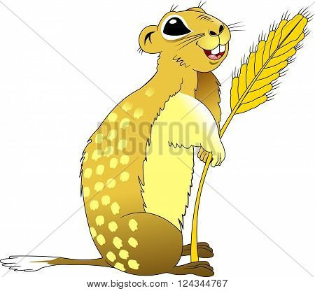 fun gopher with wheat germ vector and illustration