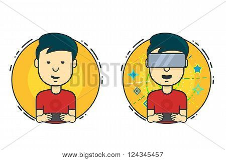 A Man With Virtual Reality Headset. Boy Playing On The Smartphone And Virtual Reality. Vector Flat D