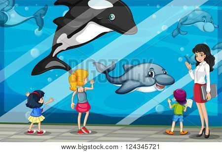 Children looking at dolphins at the aquarium illustration