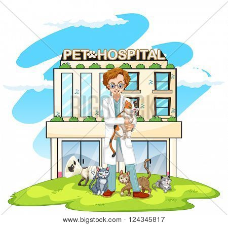 Vet and cats at pet hospital illustration