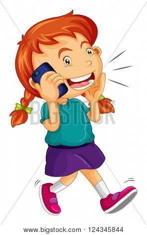 Girl talking on the cellphone illustration