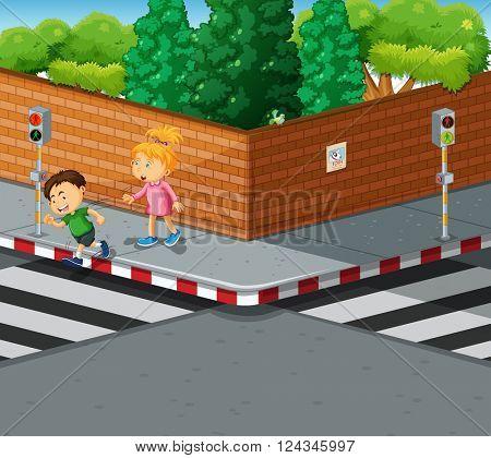 Kids crossing the street at zebra crossing