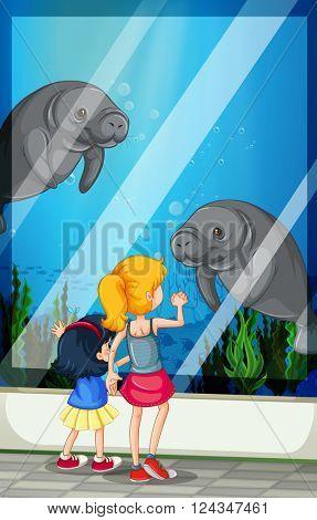 Children looking visiting aquarium illustration