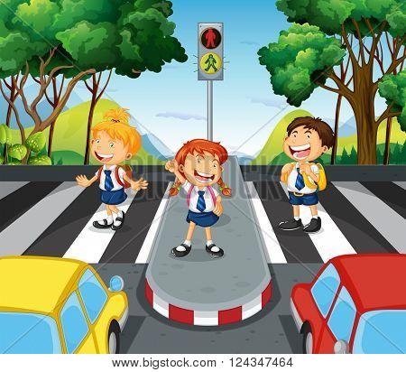 Three students at the zebra crossing illustration