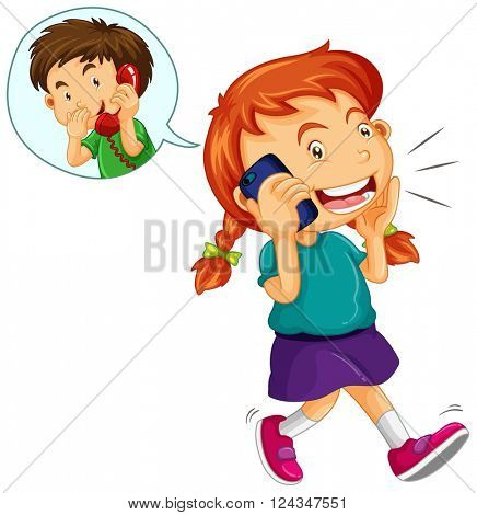 Girl talking to boy on the cellphone illustration