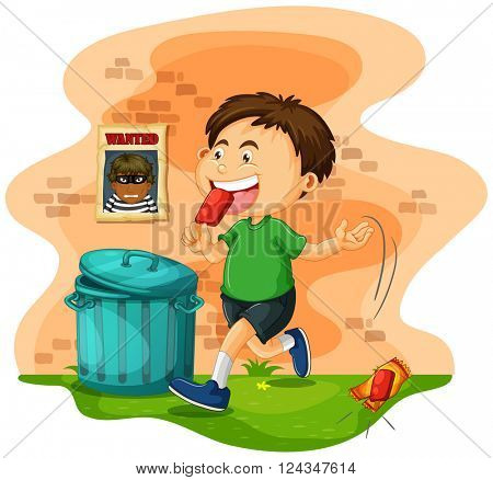 Boy throwing icecream bag on the ground illustration