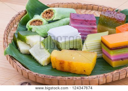 Clsoeup On Malaysia Popular Assorted Sweet Dessert Kuih Kueh