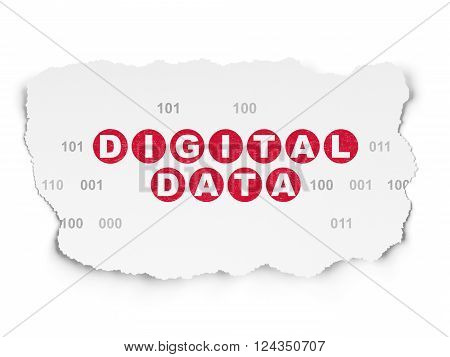 Data concept: Digital Data on Torn Paper background