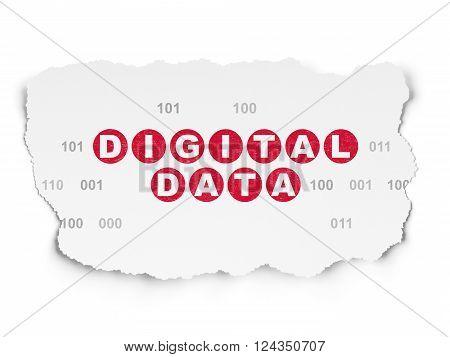 Data concept: Digital Data on Torn Paper background