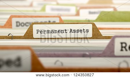 Permanent Assets Concept on File Label in Multicolor Card Index. Closeup View. Selective Focus. 3D Render.