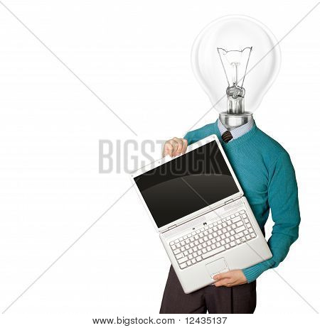 Male With Lamp-head In Blue With Laptop