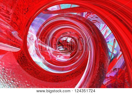 red helix space fantasy abstract background, fantastic structure backdrop