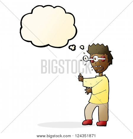cartoon terrified boy with thought bubble