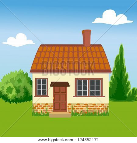 House is built of ecological materials. Family home on a background of nature.  The concept of environmental protection.  All objects are grouped. Vector.