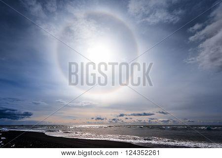 Sun halo on the shore of Jokulsarlon glacier lagoon ** Note: Soft Focus at 100%, best at smaller sizes