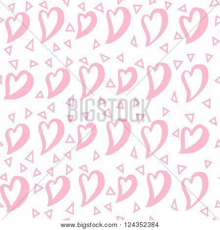 Pastel heart seamless pattern. Pink