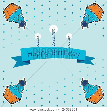 happy birthday card design. vector illustraton. cute greeting card