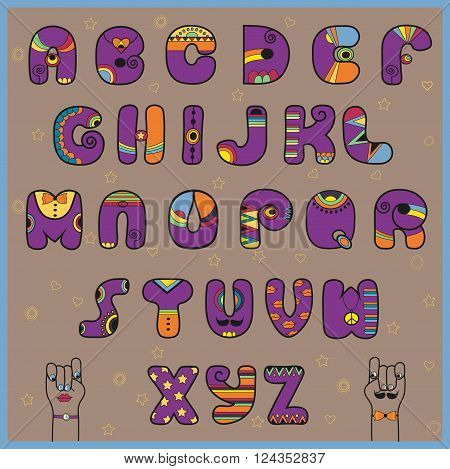Hipster Alphabet. Funny purple and orange letters. Vector Illustration