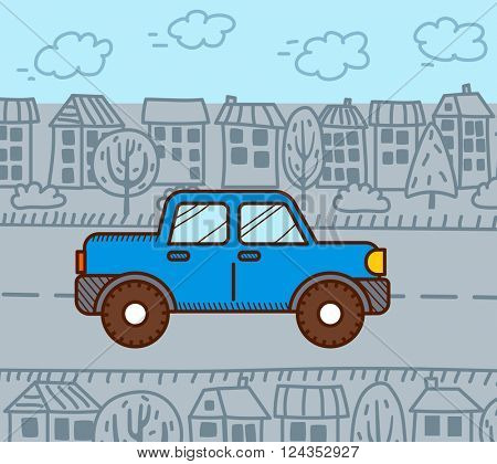 Car in the city. Vector illustration