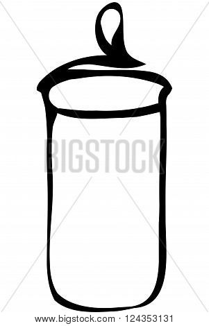 black and white vector sketch tableware glass container with a lid for cereals