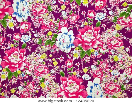 Classical Fabric With Floral Pattern Background