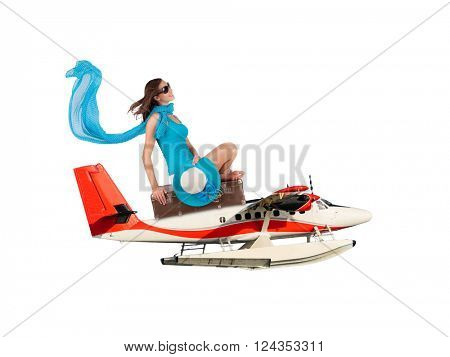 Woman sitting on seaplane on white background