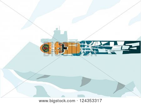 Top view of the  icebreaker ship. Explorer and research concept flat vector illustration.