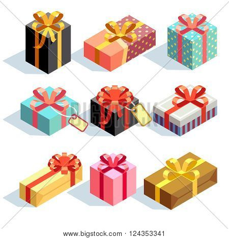 Gift icons and Present boxes. Present and gift color boxes with ribbon bows. 3D isometric vector icons