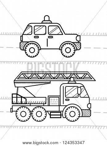 Cars coloring book for kids. Firetruck, police