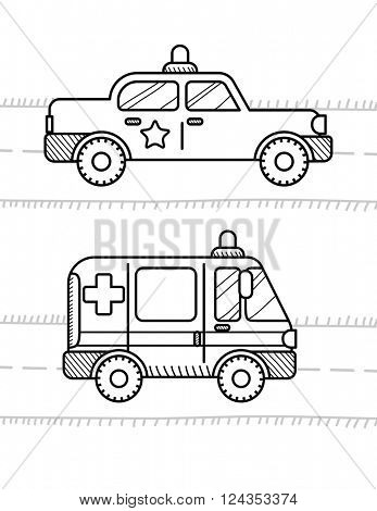 Cars coloring book for kids. Ambulance, police