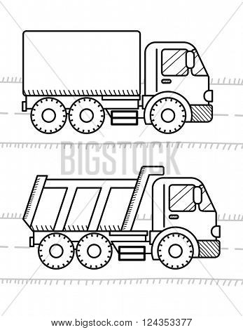 Cars coloring book for kids. Dump Truck, truck